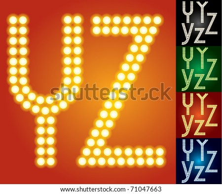 Set of advanced led alphabet with transparency. Characters y z - stock vector