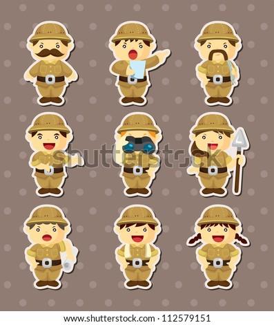 set of Adventurer people stickers - stock vector