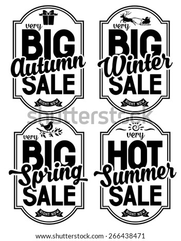 Set of advertisements about the seasonal summer, winter, autumn and spring sale. Isolated on white background . - stock vector