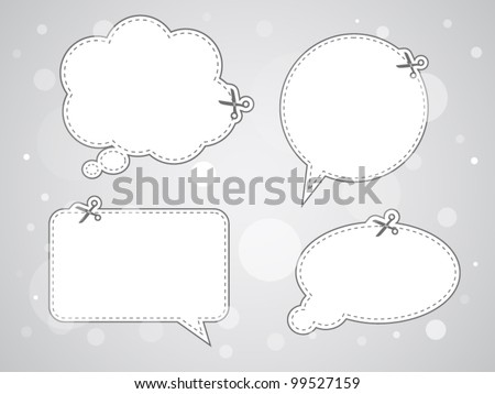 Set of advertising coupon cut from sheet of paper - stock vector