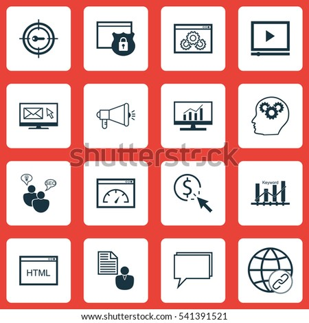 Set 16 Advertising Icons Includes Video Stock Vector 541391521