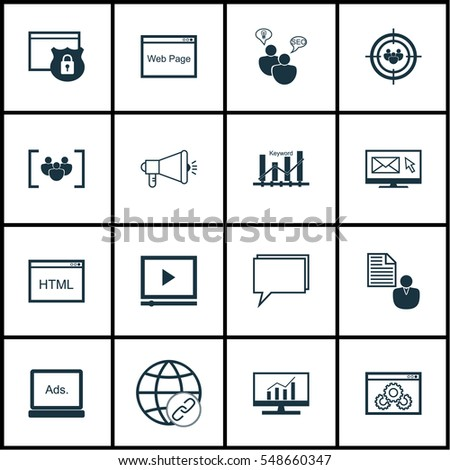 Set 16 Advertising Icons Includes Web Stock Vector 548660347