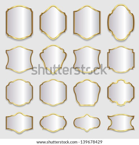 Set of advertising signboards and panels, with gold frames. Vector design illustration for web or other uses. - stock vector