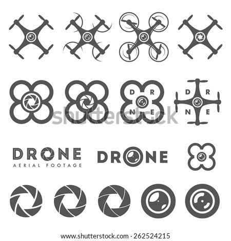 Set of aerial drone footage emblems and icons - stock vector