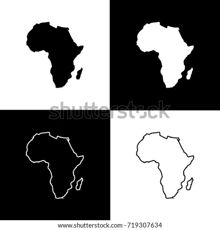 Charming Set Of Africa Map Designs With White And Black Background