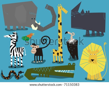 Set of African animals - stock vector