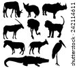 Set of African animals. Black silhouette on white background. vector - stock vector