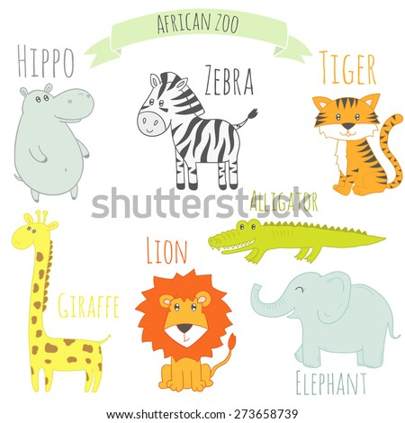 Set of African animals. Cute colorful vector zoo. Isolated illustration with zebra, tiger, lion, elephant, hippo, giraffe and alligator. - stock vector
