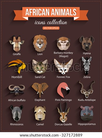 Set of African animals faces isolated icons. Flat style design. Vector illustration. - stock vector