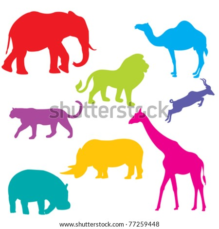 Set of African animals, isolated and grouped objects over white background - stock vector