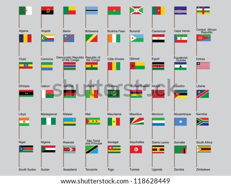set of African countries flags vector illustration - stock vector