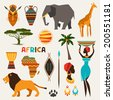 Set of african ethnic style icons in flat style. - stock vector