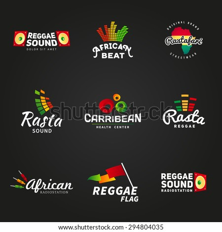 Set of african rastafari sound vector logo designs. Jamaica reggae music template. Colorful dub concept on dark background. - stock vector