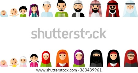 Set of age group arabic avatars in colorful style. All age group of arab people. Generations arabian man and woman.  Stages of development people - infancy, childhood, youth, maturity, old age.   - stock vector