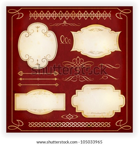 Set of 4 aged labels with embellishment and various ornate dividers, borders, frames and calligraphic elements. Perfect to embellish your designs, invitations, or announcements, etc. EPS10 - stock vector
