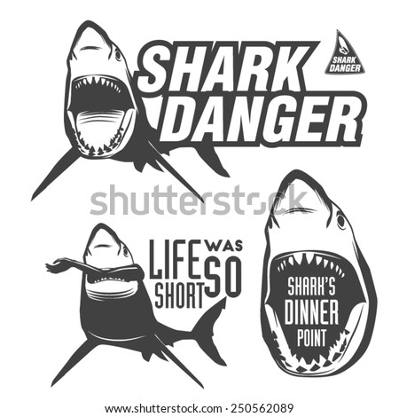 Set of aggressive shark sings for beach, surfing, diving, kitesurfing, windsurfing and other water sports - stock vector