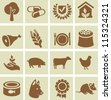 Set of agricultural icons - design elements with signs of animals and plant - stock vector