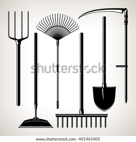 Set of Agricultural Tools, Isolated on a Light Background, Silhouette Garden Equipment , Black and White  Vector Illustration - stock vector