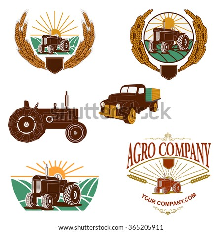 Set of agriculture company logo templates and design elements. wheat wreath, tractor, farmers pick-up. Design elements in vector. - stock vector