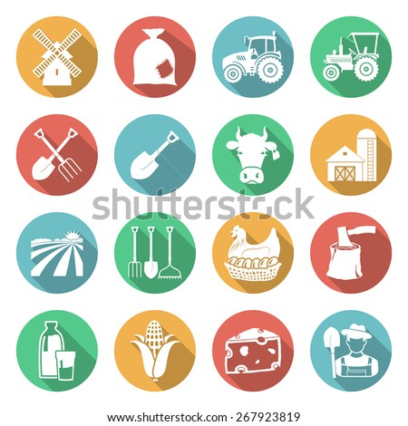 Set of agriculture icons on white. Vector illustrations - stock vector
