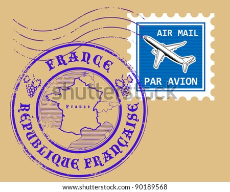 Set of air mail symbols, France, vector illustration