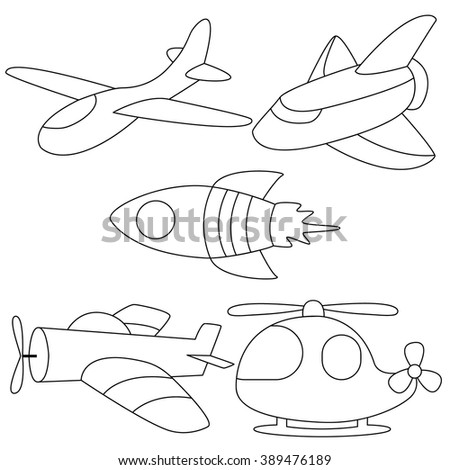 set of air vehicles cute planes coloring page for kids  - stock vector
