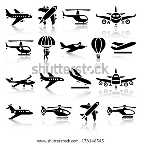 Set of aircrafts black icons. Vector illustrations, silhouettes isolated on white background