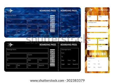 Set of airline boarding pass tickets on white background. Vector illustration. - stock vector