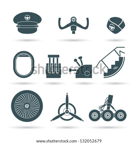 Set of airplane elements - vector illstutration - stock vector