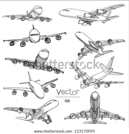 Set of Airplane hand drawn vector line illustration - stock vector