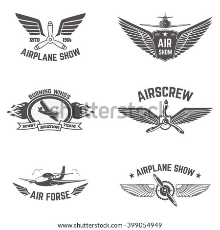 Set of airplane show labels isolated on white background. Air force. Flying club. Design elements in vector. - stock vector