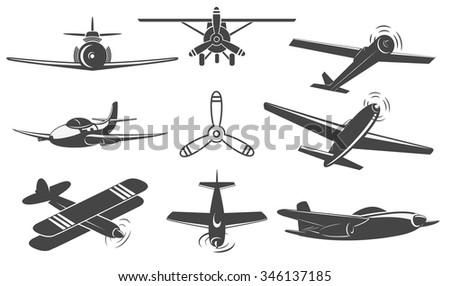Set of airplanes from different angles. Planes silhouettes. Logotype, emblem,label design elements in vector. - stock vector