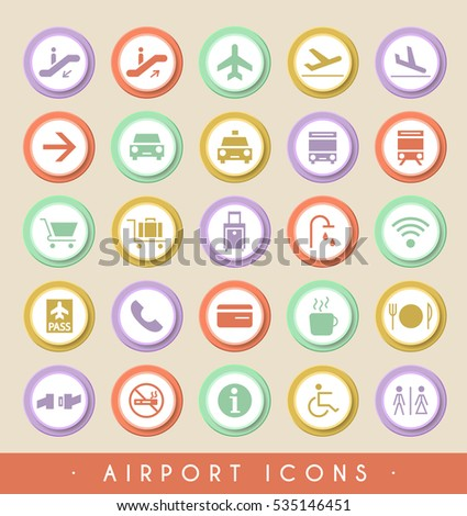 Set of Airport Icons on Circular Colored Buttons. Vector Isolated Elements.