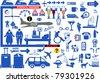 Set of airport symbols - stock vector