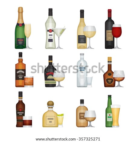 Set of alcohol bottle with glasses. Alcohol drinks and beverages. Flat design style, vector illustration.