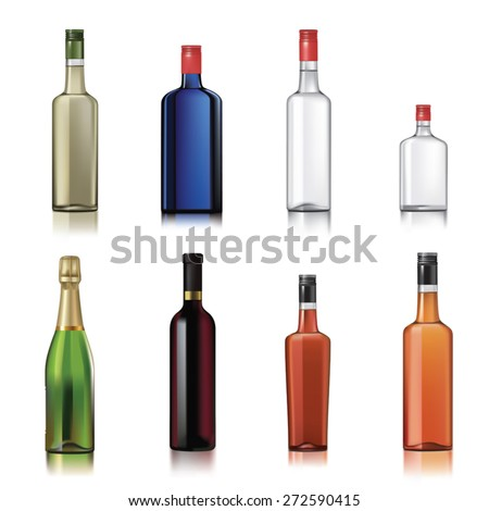 Set of alcohol bottles isolated on white. Vector illustration - stock vector