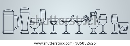 set of alcohol drinks icons - stock vector