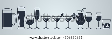set of alcohol drinks icons