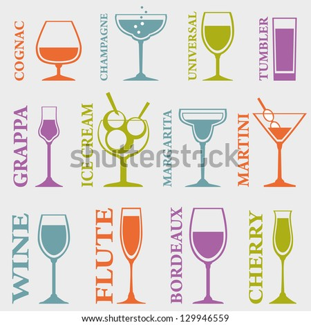 Set of Alcohol Drinks icons. Tumblers set for alcohol drinks, cocktails and ice cream. Vector illustration - stock vector