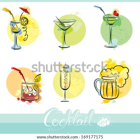 Set of alcohol drinks images in grunge style. Calligraphy elements for cafe or restaurant design. - stock vector