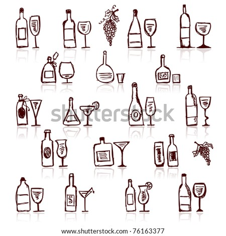 Set of alcohol's bottles and wineglasses - stock vector