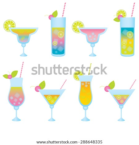 Set of alcoholic cocktails isolated on white background - stock vector