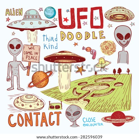 Set of alien and ufo icon, hand drawn vector illustration. - stock vector