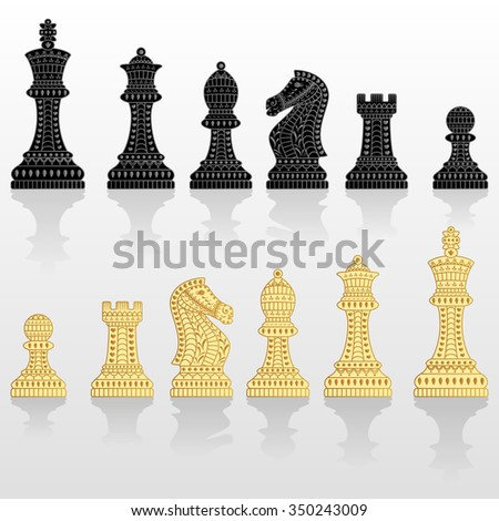 Set of all chess pieces. Black and white. Beautiful lace ornament in Indian style. Vector illustration. - stock vector