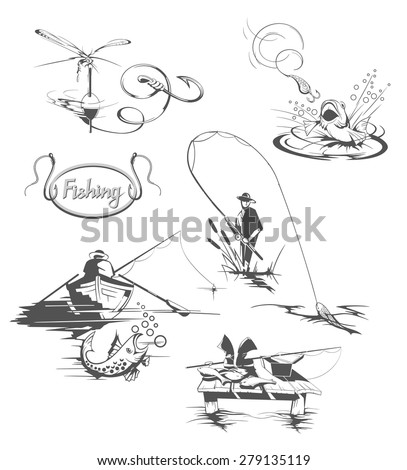Set of all kinds of fishing illustrations.