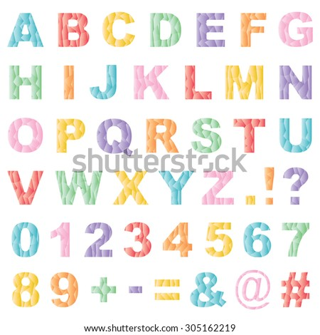 set of alphabet and number icons with gradient polygon patterns, isolated on white - stock vector