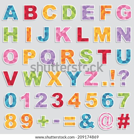 set of alphabet and number stickers with polygon patterns, with transparencies on shadows