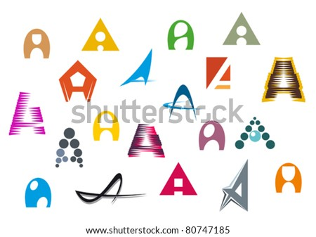 Set of alphabet symbols and elements of A letter- also as emblem, such a logo. Jpeg version also available in gallery - stock vector