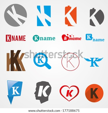 Set of alphabet symbols of letter K, icons, vector