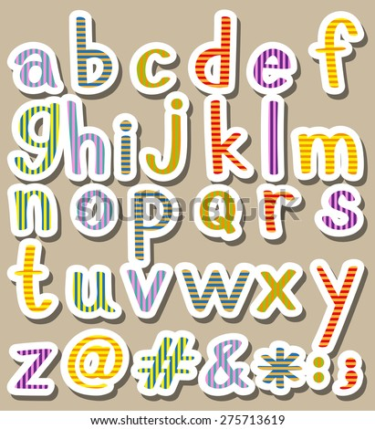 Set of alphabets and signs
